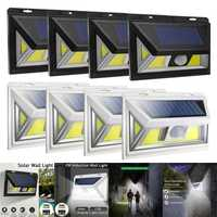 4 Pack 74 COB LED Solar Sensor de movimiento luz exterior impermeable lámpara Solar jardín escalera pasillo luces negro/blanco luces Solares