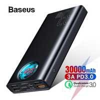 Baseus 30000mAh banco de alimentación USB C PD 3,0 carga rápida + carga rápida 3,0 batería externa portátil para Samsung portátil banco de energía