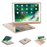 360 giratoria Bluetooth 7 colores retroiluminado teclado de aluminio cubierta de la caja para nuevo iPad 2017 de 2018 de 9,7 pulgadas iPad aire 2 9,7 Pro 10,5