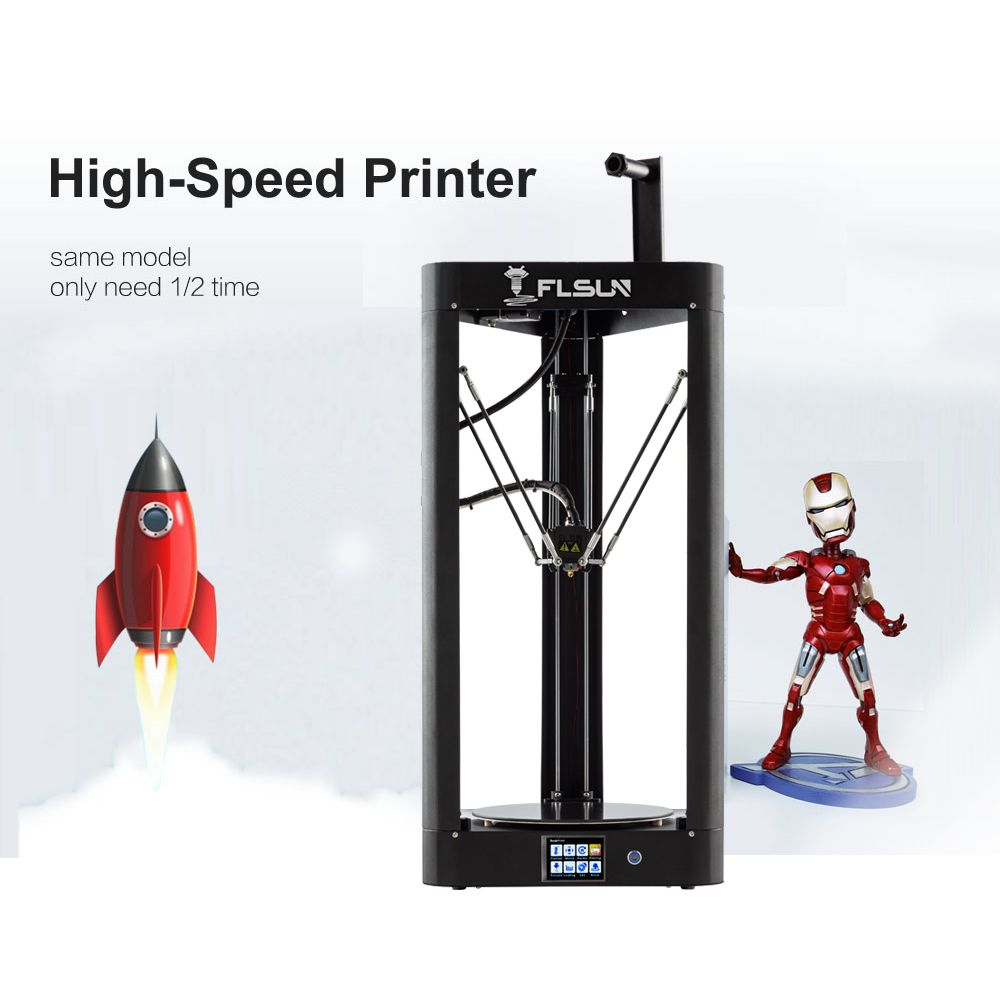 GNI US $219.50 3D Printer Flsun QQ S Delta Kossel Auto-Level Upgraded Resume Pre-assembly TFT 32bits board impressora 3d Drucker