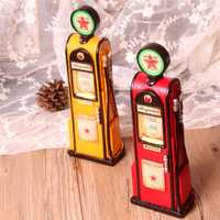Retro clásico gasolinera modelo hucha resina Figurines resina regalos artesanías vendimia decoración del hogar ahorro Pot miniaturas