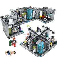 Ciudad policía laboratorio bioquímico serie Legoings modelo bloques Technic Classic figuras iluminar ladrillos juguetes para los niños regalos