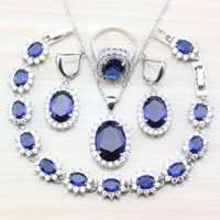 7-Color 925 de plata Oval azul Cubic Zirconia conjuntos de joyas para mujeres de moda de la salud accesorios caja de regalo T95
