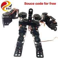 Original doit 17DOF bípedo robótico Robot Educativo robot humanoide kit servo bracket Ball bearing negro envío libre código fuente