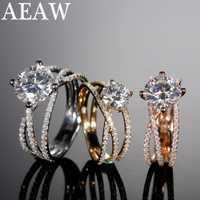 AEAW 1ct 3ct EF redondo 18K oro blanco Moissanite anillo prueba de diamante pasado joyería mujer novia regalo