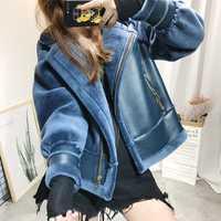 De cuero de lana esponjosa abrigo corto Mujer pelo falso abrigo de piel ropa de invierno abrigo azul de fiesta Casual cálido abrigo