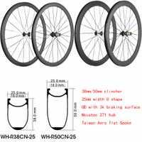Ruedas de carbono superligeras chinas 38mm 50mm Perfil de profundidad Tubular o Clincher Road Bike carbono rueda de bicicleta