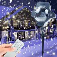 Tanbaby vacaciones de Navidad copo de nieve para proyector de LED al aire libre lámpara impermeable luces de jardín de la casa de nieve decoración de interiores