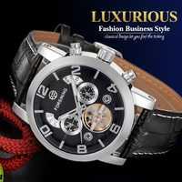 FORSINING de los hombres de la marca de moda de reloj Tourbillon correa de cuero relojes mecánicos para el mejor regalo de los hombres