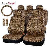 AUTOYOUTH luxe imprimé léopard housse de siège de voiture universel Fit coussinets de ceinture de sécurité, et 15