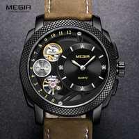 Relojes de pulsera de cuarzo deportivos de lujo para hombre de moda MEGIR relojes militares del ejército de correa de cuero para hombre reloj Erkek Kol Saati