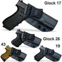 IWB/OWB táctico de fibra de carbono KYDEX funda de pistola Glock 19 17 25 26 27 28 43 22 23 31 32 33 funda de pistola oculta