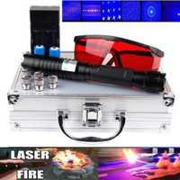 De alta potencia puntero láser azul linterna de láser 445nm 10000 m enfocable láser linterna puntero quema Encuentro de cigarrillo.