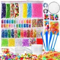 Nouveau paquet de 72 Kits de fabrication de fournitures pour la Slime, y compris les boules de mousse, les perles de bol de poisson, le filet, les pots de paillettes, les perles, le papier de sucre, la cuillère