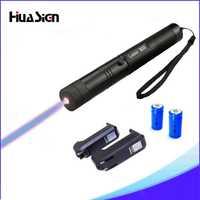 Alta Calidad Azul 303 Lazer Puntero Láser Presentador Con Llave de la Caja + 2*16340 Batería + 16340 Cargador