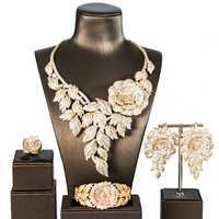 LAN PALACE estilo Simple aleación de cobre de lujo 5A zirconia cúbica conjunto de joyas pendientes collar anillo pulsera envío gratis