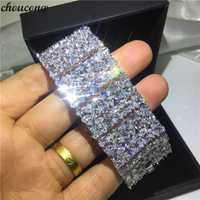 Choucong de lujo pulseras de oro blanco multi AAAAA de plata cz colores fiesta boda pulsera para las mujeres regalo nupcial ancho 35mm