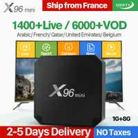 X96 mini Android 7.1 Smart TV box IP 4 K Quad Core 1 año qhdtv código suscripción Europa canales X96mini francés árabe IPTV caja