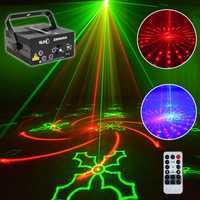 2018 más nuevo proyector láser de Navidad 80 patrones de efectos de escenario luces de discoteca para el hogar música estrella láser lumiere proyector natal