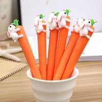 100 unids/lote conejo zanahoria Gel pluma de regalo de estudiante de tinta negra bolígrafos papelería oficina escuela suministros Canetas Escolar Papelaria