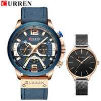 CURREN marca superior cuarzo cuero genuino hombres amantes reloj hombres y mujeres reloj acero mujeres relojes de pulsera pareja relojes conjunto