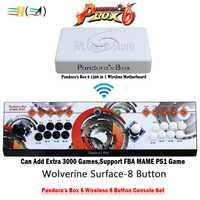 Caja de Pandora 6 1300 en 1 inalámbrico 8 Botones consola de hierro rojo/Círculo/superficie de Wolverine HDMI VGA USB para PC TV PS3 tekken pacman