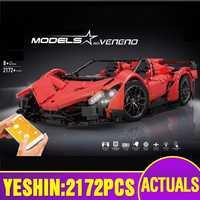 Yeshin 20091 APP Rmote voiture de contrôle Compatible avec MOC-10559 motorisé Veneno Roadster Set blocs de construction briques voiture modèle jouets