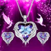 Cdyle cristales de Swarovski de alas de Ángel pendientes collares azul colgante de corazón de cristal conjunto de joyas para mujeres regalos de amor