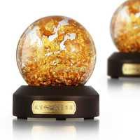Oro copos de nieve de lujo Bola de agua de recuerdos globo 24 K hoja de oro mejor regalo para negocios ricos Feng Shui bola de nieve bola