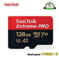 SanDisk Extreme PRo microSDXC UHS-I 128 GB tarjeta de memoria micro SD tarjeta TF tarjeta 170 MB/S Class10 U3 A2 con SD adaptador