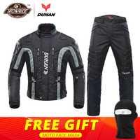 DUHAN chaqueta de la motocicleta de Bluetooth a prueba de viento protección chaqueta + Pantalones conjunto Hip Protector traje de montar motocicleta pantalones chaqueta