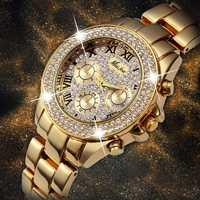 MISSFOX relojes de mujer, reloj de lujo de moda de las mujeres 2019 Relogio femenino cronógrafo oro romano relojes de pulsera de cuarzo