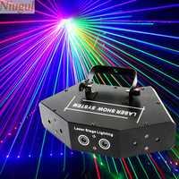 Niugul escaneo láser etapa luz RGB a todo Color seis ojos rayo láser Club DJ Disco luces láser proyector DMX512 escáner láser iluminación