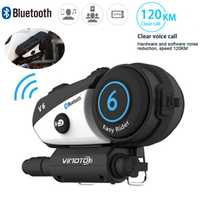 Vimoto V6 casco de la motocicleta Intercom Headset Bluetooth Multi-funcional 2 vías de transmisión de alta fidelidad Interphone