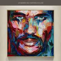 Nuevo Arte pop pintado a mano gente famosa retrato pintura al óleo sobre lienzo resumen cuchillo humano Cara carácter de acrílico pinturas