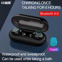 KD Mini separado auricular Bluetooth inalámbrico 5,0 Touch impermeable en la oreja con micrófono estéreo de auriculares universal de teléfono móvil