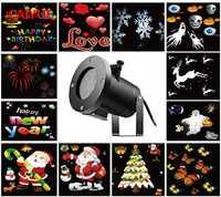 Nueva decoración del día impermeable al aire libre llevó luz de la etapa 12 tipos Navidad Snowflake proyector luces estrella jardín