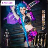 [STOCK] 2018 juego LOL héroe femenino el cañón suelto JINX piel Original Cosplay para Halloween carnaval envío gratis nuevo.