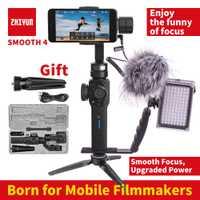 Zhiyun Smooth 4 smartphone 3 Axis gimbal estabilizador móvil steadicam de vídeo para iphone/Android Cámara de Acción VS Smooth Q