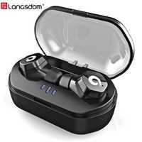 Langsdom IPX7 Auriculares Bluetooth TWS F8 Auriculares Deportes Auriculares Bluetooth 4.2 estéreo Inalámbrico de Control Táctil fone de ouvido Siri