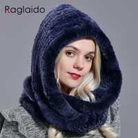 Gorro con capucha Raglaido de piel de conejo de moda de piel real de rex para mujer gorro de nieve cálido sombrero de punto grande LQ11283