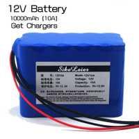 Gran capacidad de 12 V 10Ah 18650 placa de protección de batería de litio 12.6 V 10,000 mAh capacidad + 12 V 3A baterías cargador de Batería