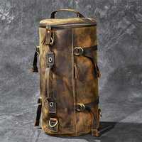 Gran capacidad de hombre bolsa de viaje montañismo hombres de mochila bolsas de mano-loco Oli de cuero genuino, bolso