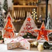 Led Luz de árbol de madera de estrella árbol de Navidad de la casa decoración para el hogar, mesa de adornos de vacaciones de Navidad regalo boda Navidad 2019