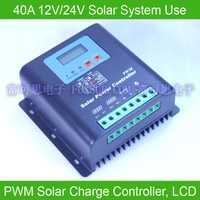 40A 12 V-24 V PWM controlador de carga solar, con pantalla LCD de voltaje de la batería y capacidad, PWM carga para fuera de la red PV