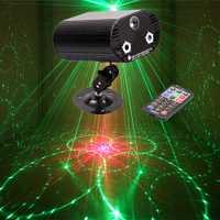 LED de alta calidad 3 en 1 RG Luz de música láser remoto dj láser proyector discoteca efecto luz para fiesta en casa entretenimiento