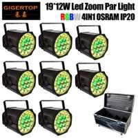8in1 camino paquete 19x12 W de alta eficiencia OS-RAM RGBW LEDs estudio PAR soporte- solo Control 0-100% electrónicos atenuación panel lente