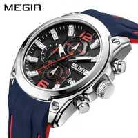 MEGIR analogique chronographe Quartz hommes montre horloge Relogio Masculino marque de luxe Silicone armée militaire Sport montres hommes poignet