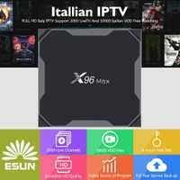 Italia IPTV caja de X96 MAX android TV BOX 8,1 + IPTV suscripción Albania vod serie epg Europa Reino Unido EXYU EE. UU. m3U xxx caja de tv inteligente