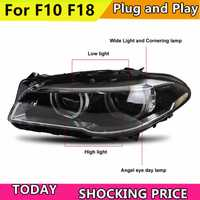 Estilo de coche para BMW F10 F18 525i 528i 530i 530, 528, 2010-2016 faros LED DRL lente de doble haz ojos de Ángel de Xenón HID bi lámpara